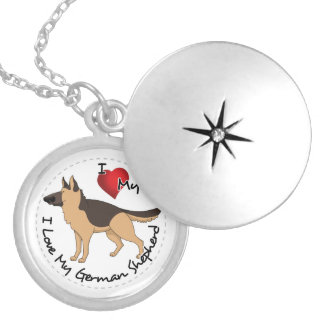 I Love My German Shepherd Dog Silver Plated Necklace