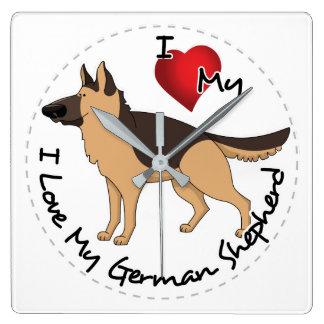 I Love My German Shepherd Dog Square Wall Clock