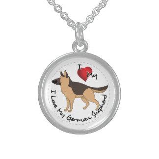 I Love My German Shepherd Dog Sterling Silver Necklace