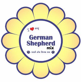 I Love My German Shepherd Mix (Female Dog) Photo Sculpture Ornament