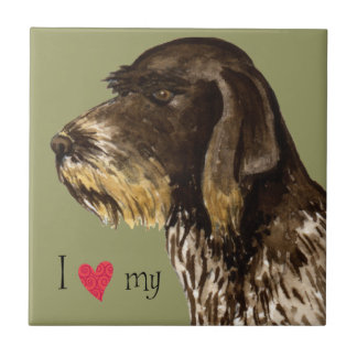 I Love my German Wirehaired Pointer Ceramic Tiles