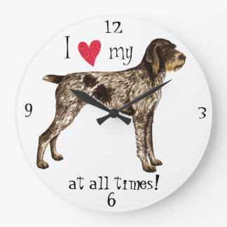 I Love my German Wirehaired Pointer Clocks