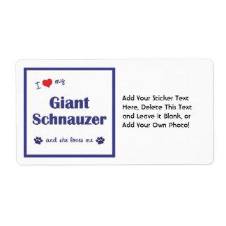 I Love My Giant Schnauzer (Female Dog) Custom Shipping Label