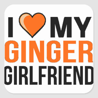 I Love My Ginger Girlfriend Square Sticker