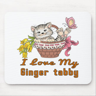 I Love My Ginger tabby Mouse Pad