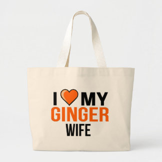I Love My Ginger Wife Large Tote Bag
