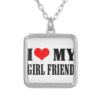 i love my girl friend silver plated necklace