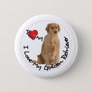 I Love My Golden Retriever Dog 2 Inch Round Button