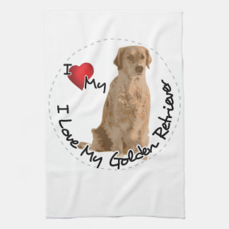 I Love My Golden Retriever Dog Kitchen Towel