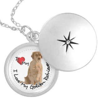 I Love My Golden Retriever Dog Silver Plated Necklace