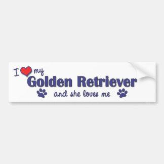 I Love My Golden Retriever (Female Dog) Bumper Sticker
