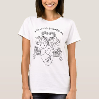 I love my grandkids heart Angel wings line art T-Shirt
