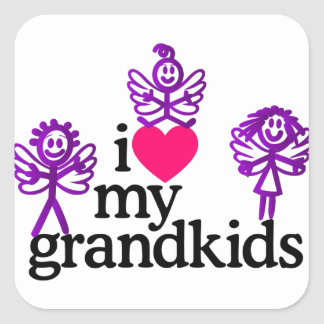I Love My Grandkids Square Sticker