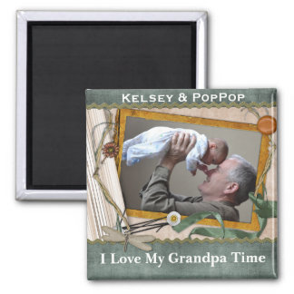 I Love My Grandpa Time Personalized Magnet