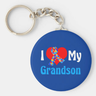 I Love My Grandson Autism Awareness Blue Basic Round Button Keychain