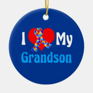 I Love My Grandson Autism Awareness Blue Round Ceramic Ornament