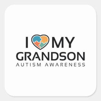 I Love My Grandson Square Sticker