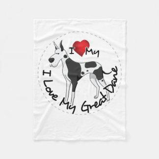 I Love My Great Dane Dog Fleece Blanket