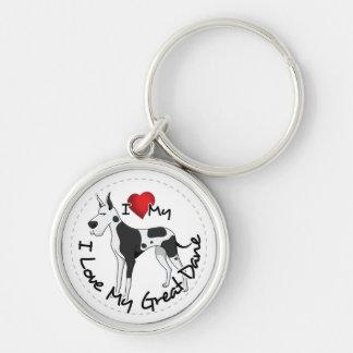I Love My Great Dane Dog Keychain