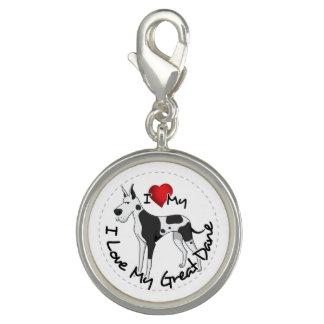 I Love My Great Dane Dog Photo Charm