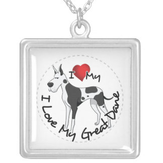 I Love My Great Dane Dog Silver Plated Necklace