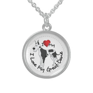 I Love My Great Dane Dog Sterling Silver Necklace