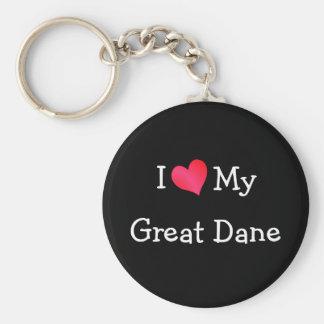 I Love My Great Dane Keychain