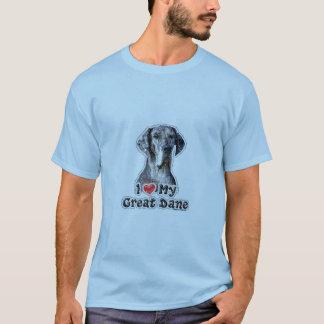 I Love My Great Dane Saddle T Shirt