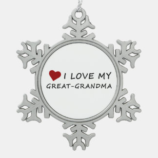 I Love My Great-Grandma with Heart Snowflake Pewter Christmas Ornament