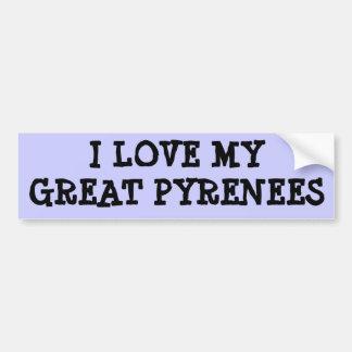 I LOVE MY GREAT PYRENEES BUMPER STICKER