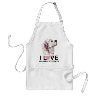 I Love My Great Pyrenees Standard Apron