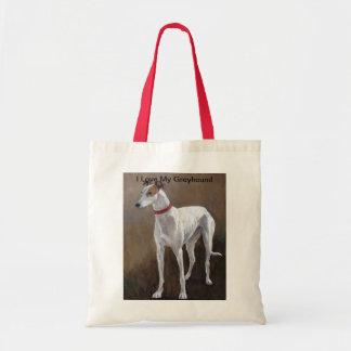 I Love My Greyhound Dog Art Tote Bag