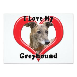 "I Love My Greyhound Logo in Heart 5"" X 7"" Invitation Card"