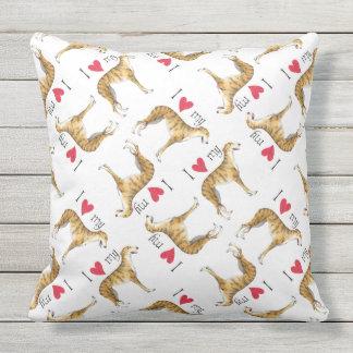I Love my Greyhound Outdoor Pillow
