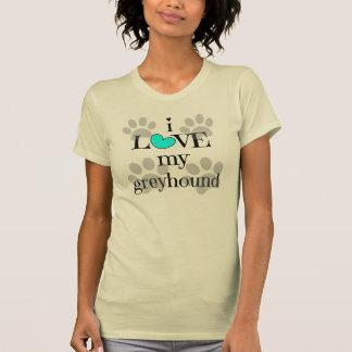 i LOVE my greyhound, paw prints & hearts T-Shirt