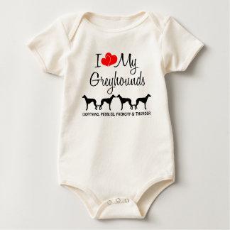I Love My Greyhounds Baby Bodysuit