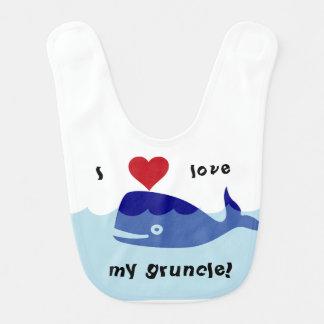 """I love my gruncle!"" whale design Bib"