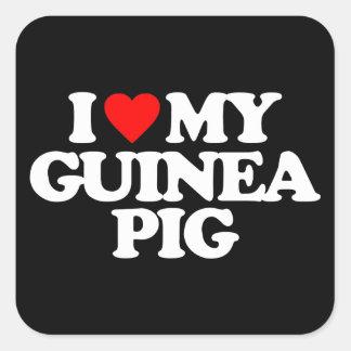 I LOVE MY GUINEA PIG SQUARE STICKER