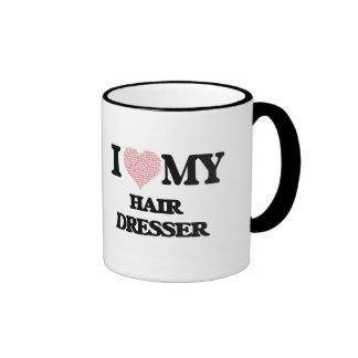 I love my Hair Dresser (Heart Made from Words) Ringer Mug