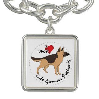 I Love My Happy Adorable & Cute German Shepherd Charm Bracelet