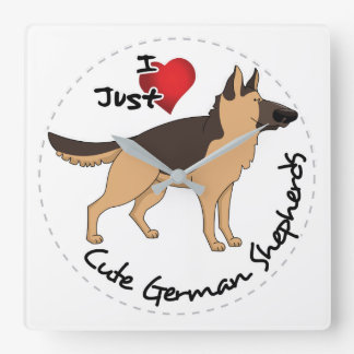 I Love My Happy Adorable & Cute German Shepherd Square Wall Clock