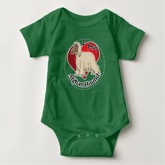 I Love My Happy Adorable Funny & Cute Afghan Hound Baby Bodysuit