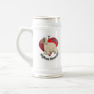 I Love My Happy Adorable Funny & Cute Afghan Hound Beer Stein
