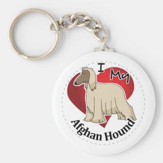 I Love My Happy Adorable Funny & Cute Afghan Hound Keychain