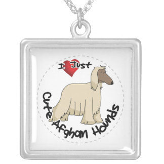 I Love My Happy Adorable Funny & Cute Afghan Hound Silver Plated Necklace