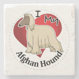 I Love My Happy Adorable Funny & Cute Afghan Hound Stone Coaster