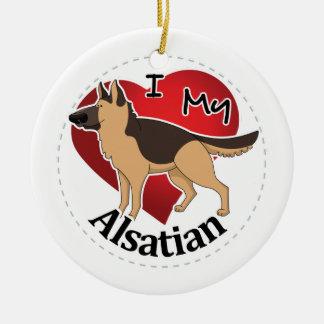 I Love My Happy Adorable Funny & Cute Alsatian Dog Ceramic Ornament