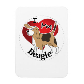 I Love My Happy Adorable Funny & Cute Beagle Dog Magnet