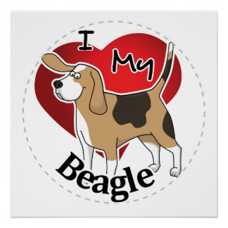 I Love My Happy Adorable Funny & Cute Beagle Dog Poster