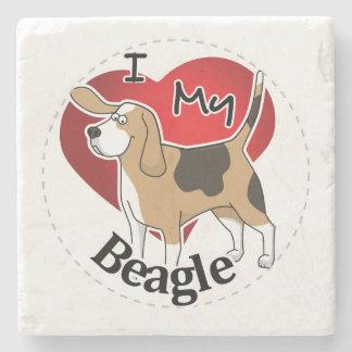 I Love My Happy Adorable Funny & Cute Beagle Dog Stone Coaster